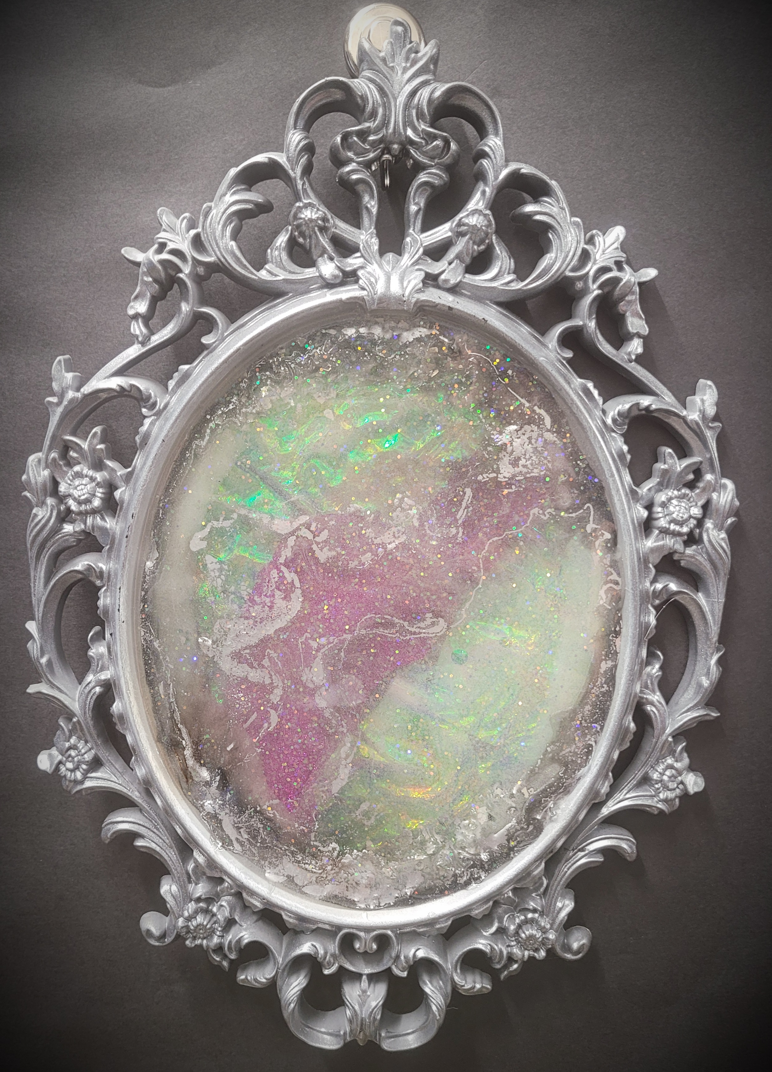 Raspberry Fire Opal Mirror with Silver