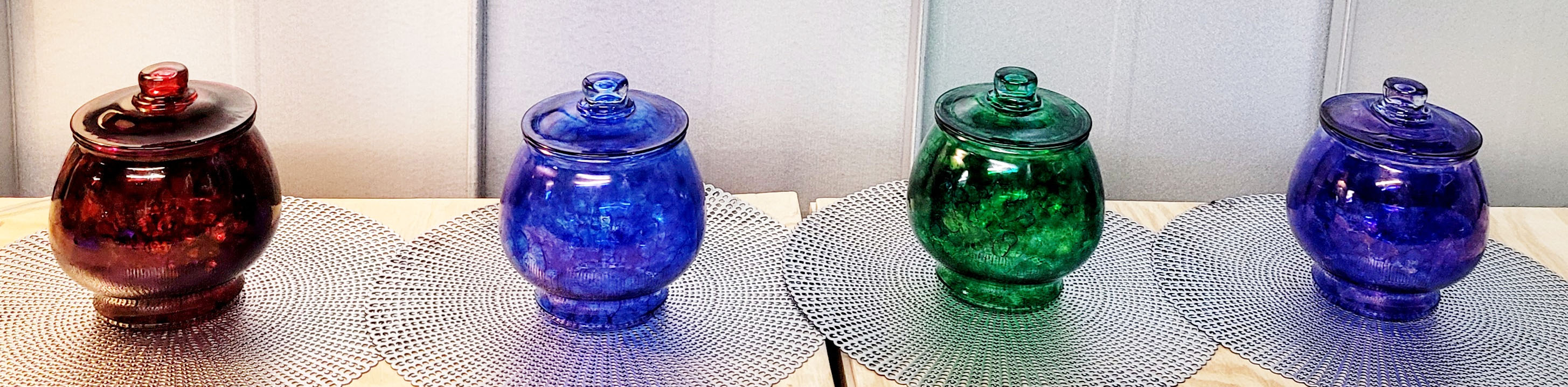 Hand Painted Glass Cookie Jar