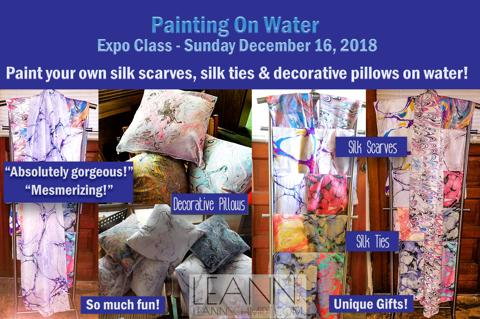 Art Party Workshop – Paint on Water – Silk scarves, ties and pillows December 16, 2018